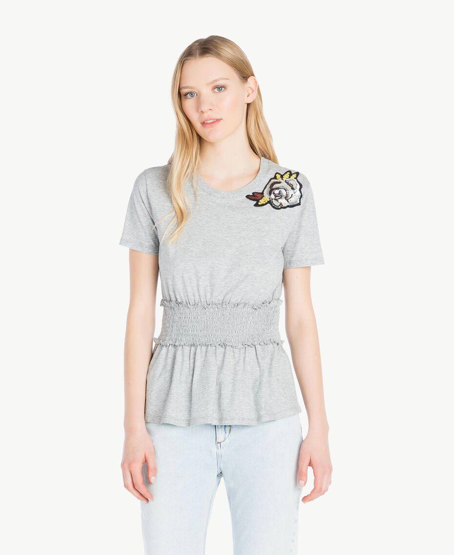 T-shirt paillettes Gris Mélangé Femme JS82RB-01