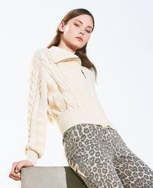 Wool blend biker jacket Parchment White Woman 202TT3191-05