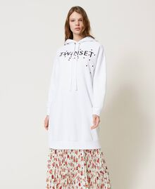Maxisudadera con logotipo y bordado de mariquitas Blanco Mujer 202TP2806-02