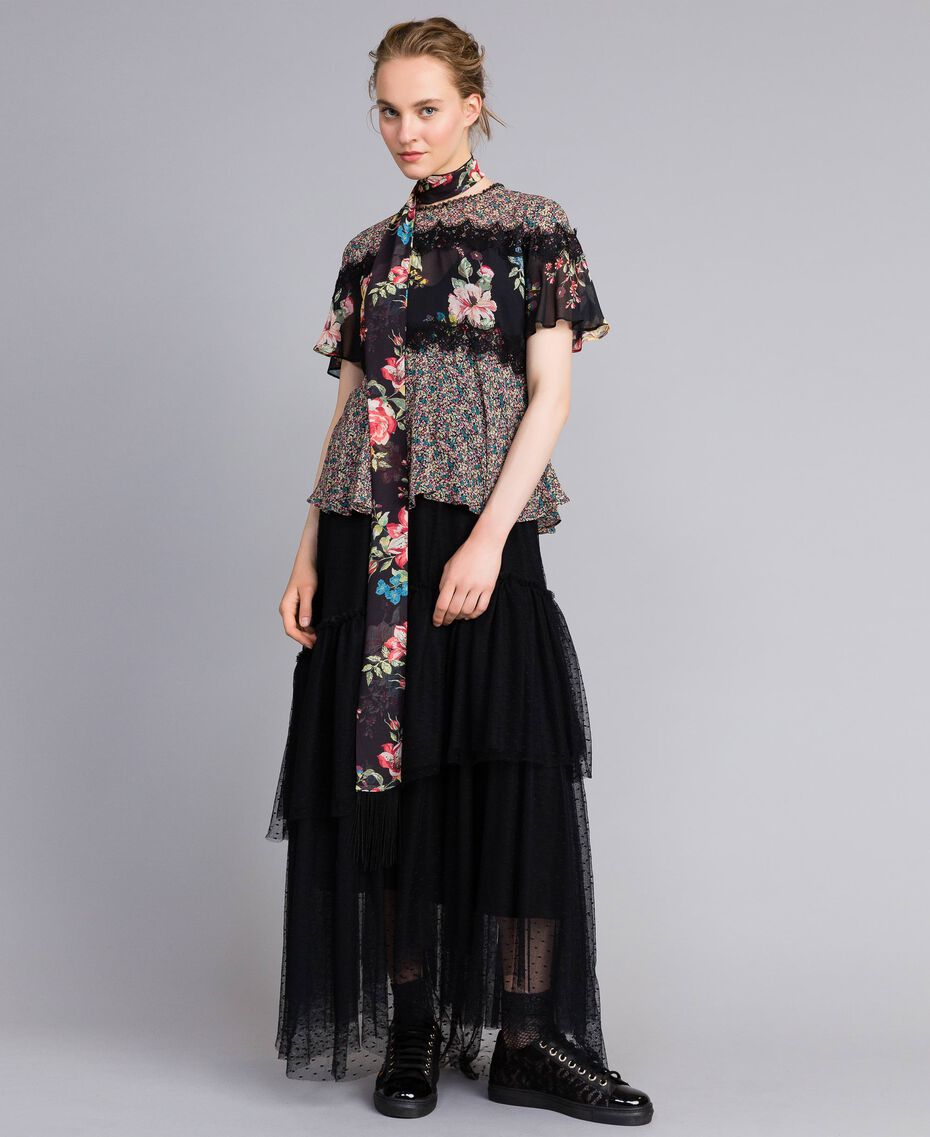 "Bluse aus Georgette mit Blumenprint Print ""Flower Patch"" Frau PA82MH-0T"