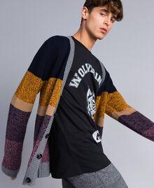 Colour block wool blend cardigan Multicolour Mouliné Man Man UA83GB-04