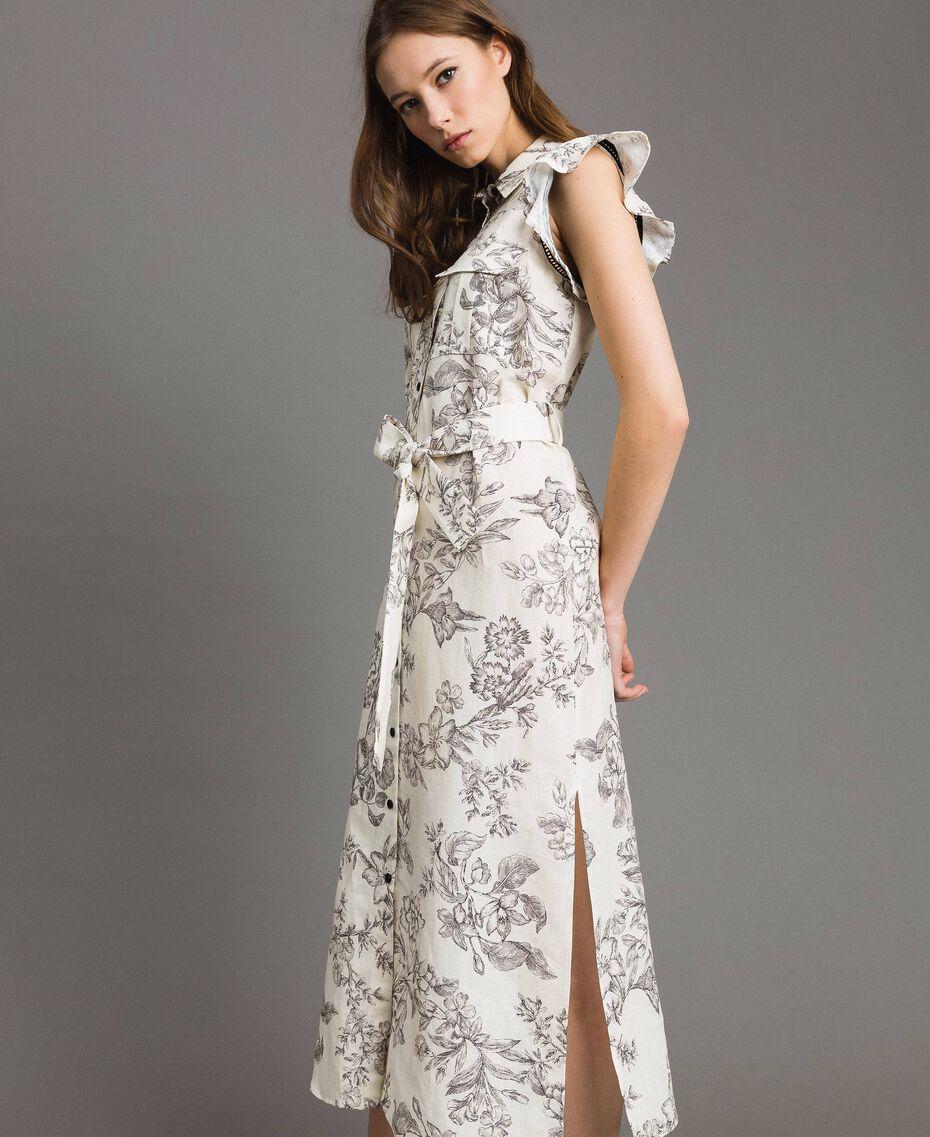 Robe chemise imprimée en lin Imprimé Toile De Jouy Noir Femme 191TT2460-02