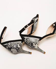 Leather sandals with python print Two-tone Pale Rock Python Print / Black Woman 201TCP022-04