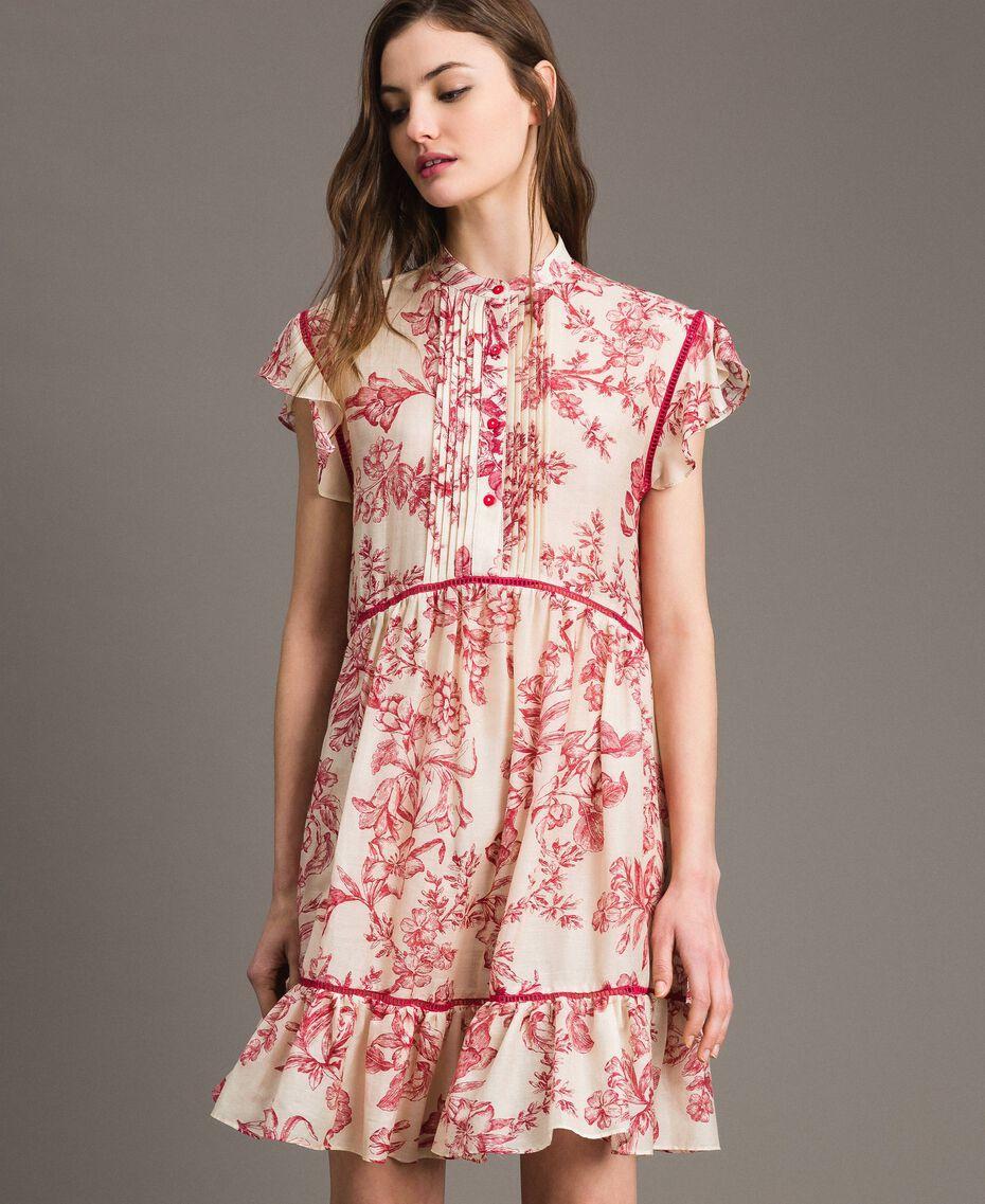 Kleid aus Seidenmischung mit Blumenprint Motiv Toile De Jouy Rot Frau 191TT2404-02