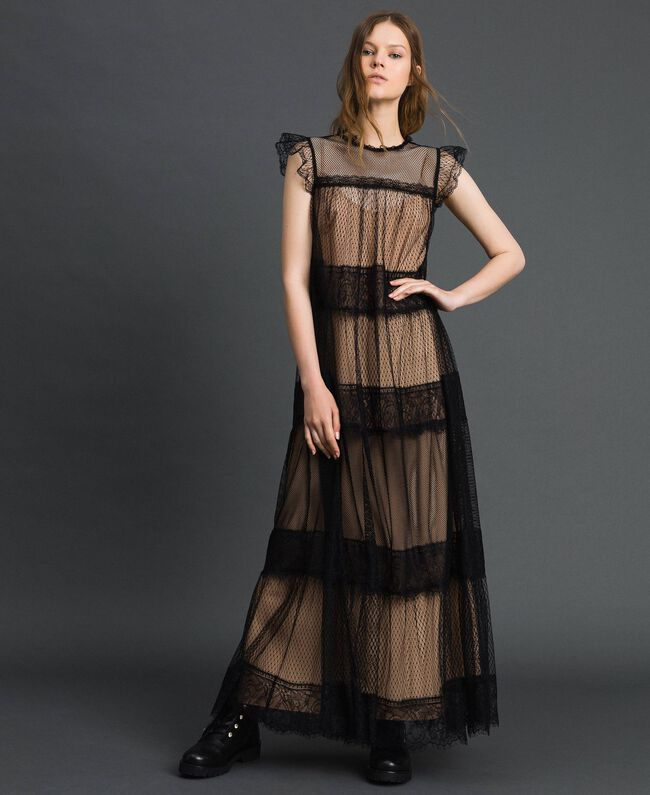 Robe longue avec patchs en tulle, dentelle et plumetis Bicolore Noir / Nude Femme 192TP2332-01