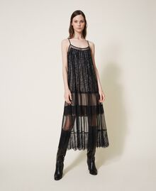 Full-length tulle and lace dress with sequins Black Woman 202TT2250-01