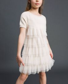 Dress with pleated tulle flounces Pale Cream Child 192GJ3110-01