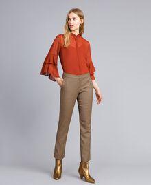 """Pantaloni a sigaretta in misto lana Jacquard Quadretti Arancione """"Bruciato"""" Donna TA821P-01"""