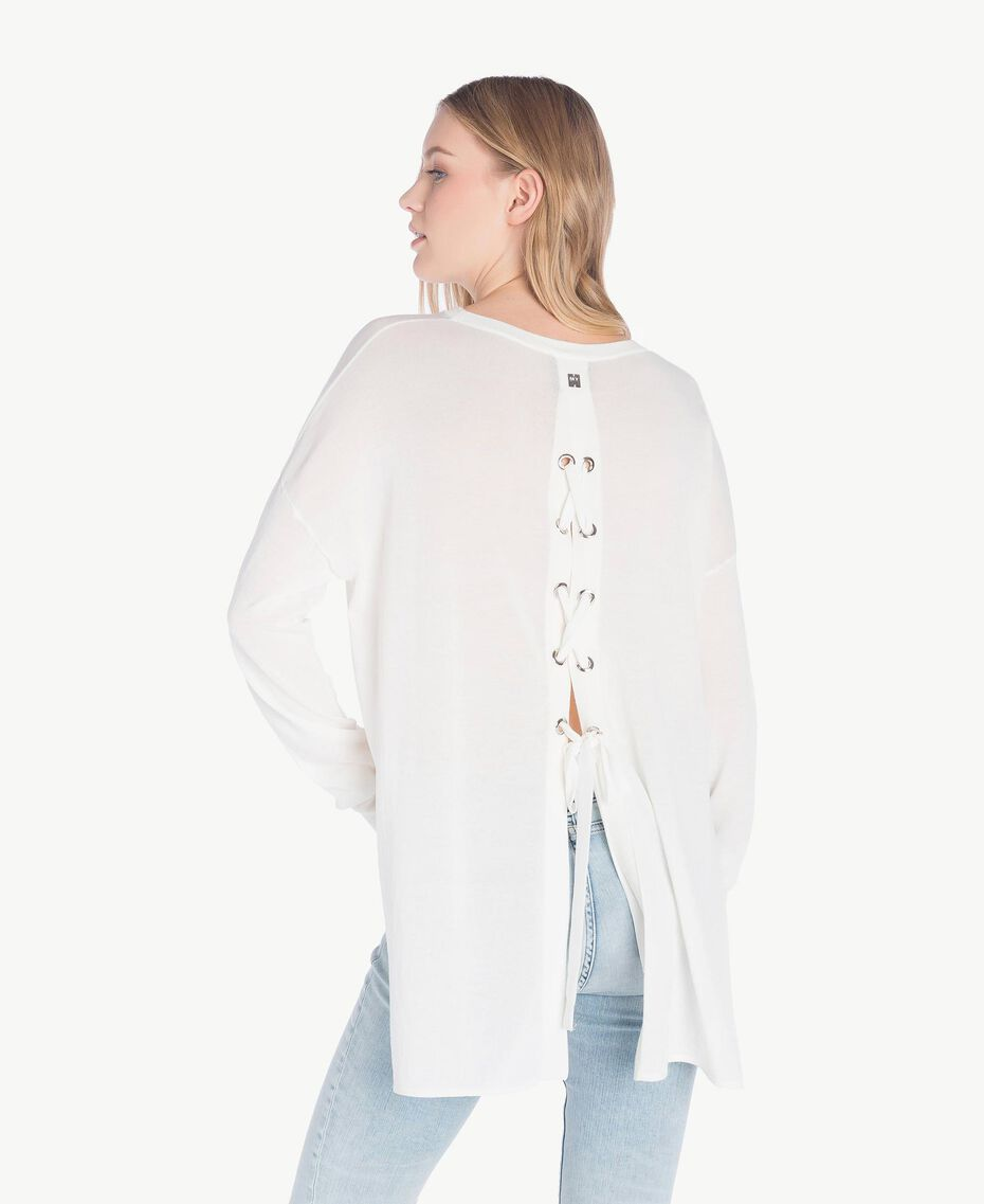 Asymmetric jumper White Woman JS83GA-03