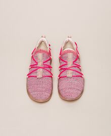 Fabric running shoes with fluorescent finishes Two-tone Pink / Fluo Fuchsia Woman 201TCP154-05