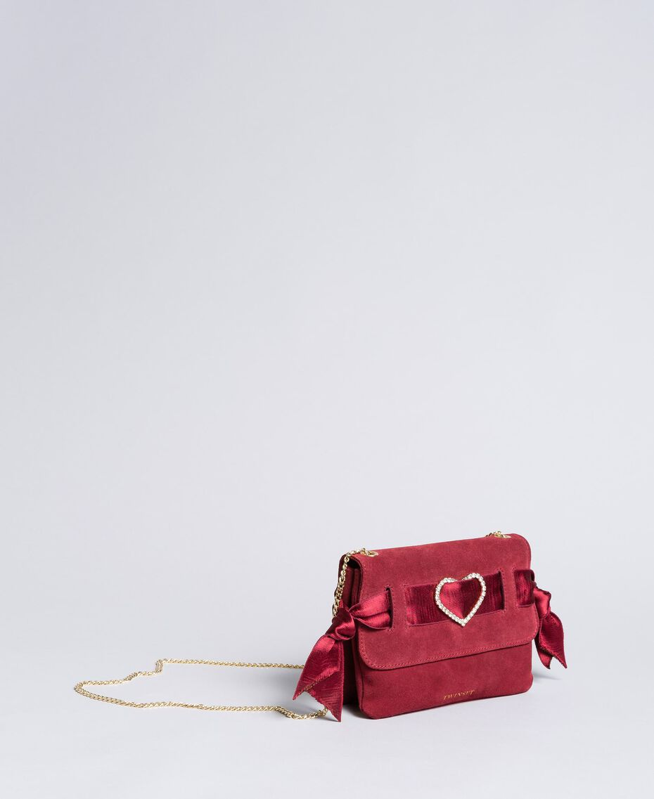 Suede shoulder bag with rhinestone heart Bordeaux Woman AA8PAA-02