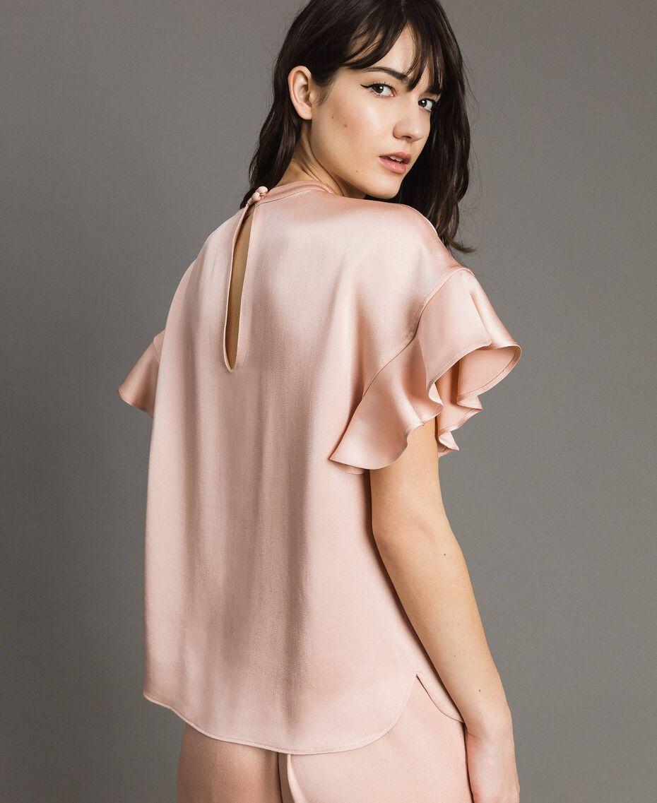 """Teardrop opening blouse """"Nude"""" Beige Woman 191TP2694-02"""
