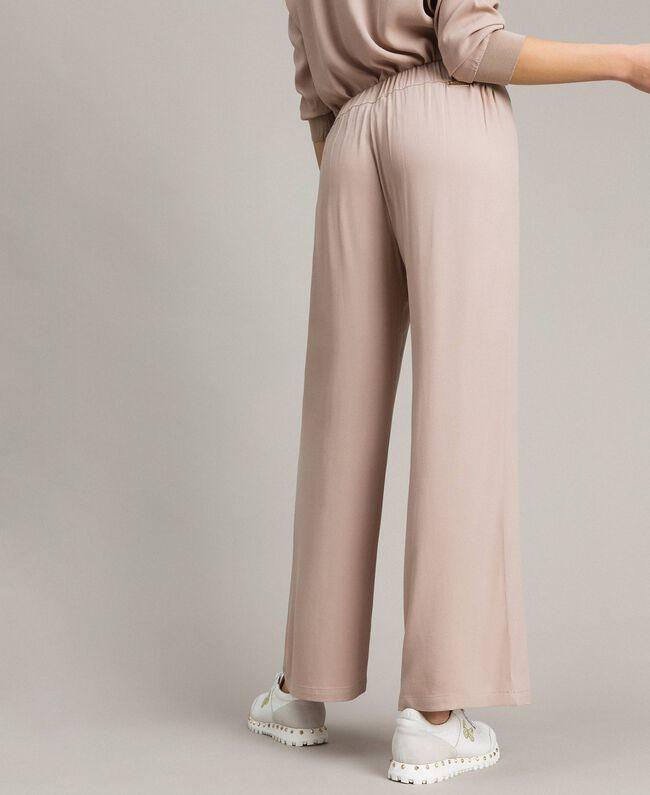 """Pantalon palazzo en crêpe Gris """"Poussière Grise"""" Femme 191LL23EE-03"""