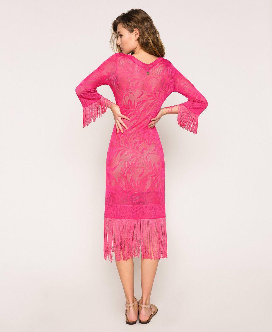 Lace stitch dress with fringes Black Woman 201TT3010-03