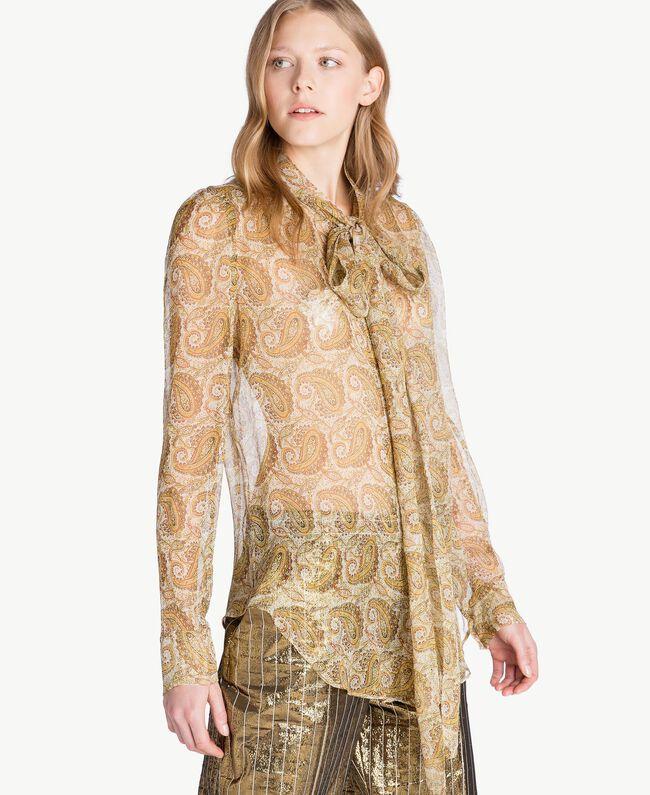Hemd aus Seide Makro-Paisleyprint Gelb Frau TS825R-04