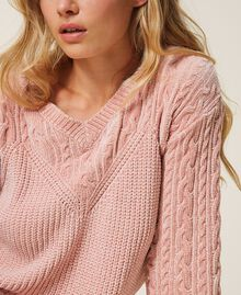 "Cable knit chenille jumper ""Peach Powder"" Pink Woman 202LL3GSS-05"