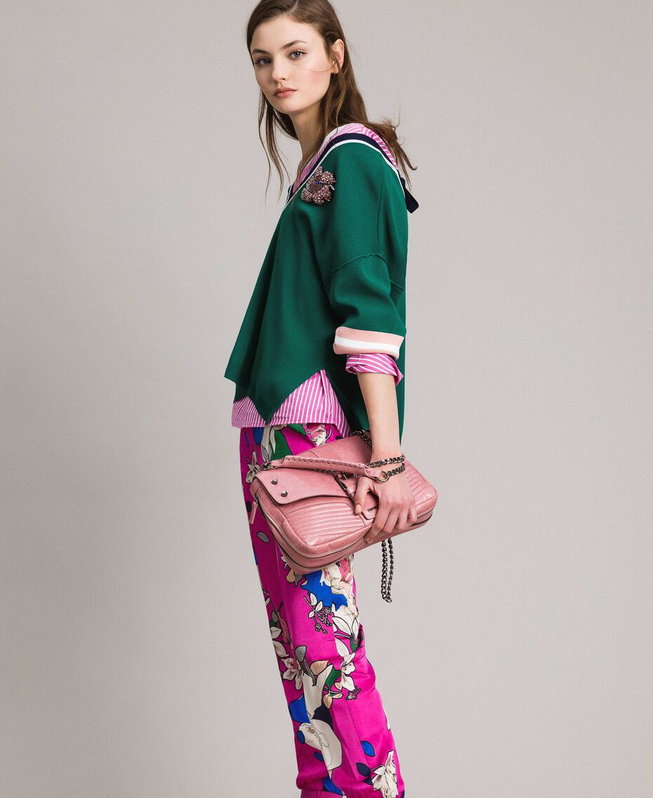 Pantalon de jogging en satin floral Imprimé Anémone Sylvie Rose Femme 191TP2473-0T