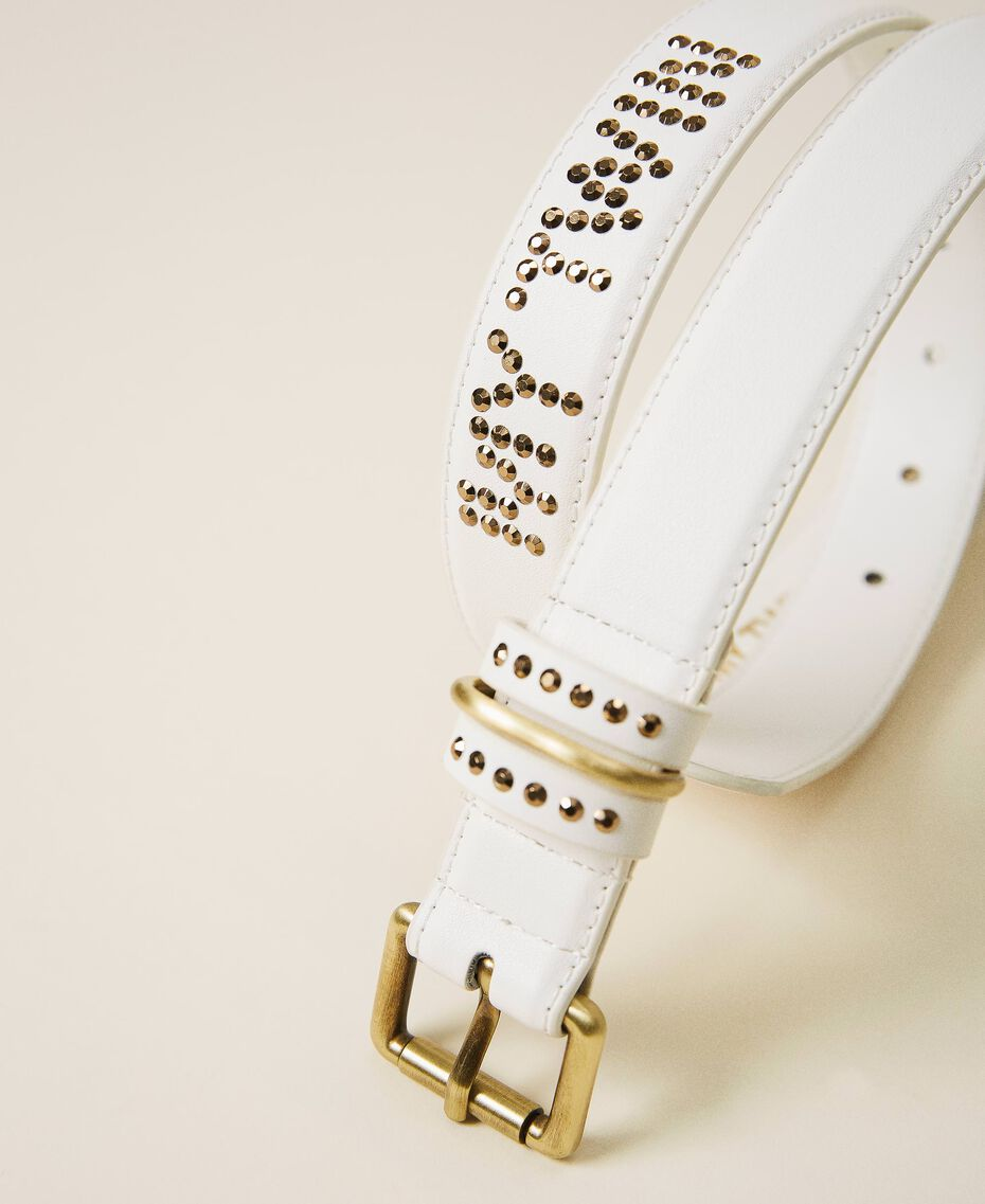 Faux leather belt with logo Creamy White Woman 202MA4354-02