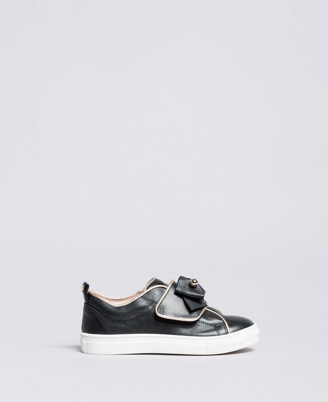 Sneakers in pelle con perle Nero Bambina HA88AE-01