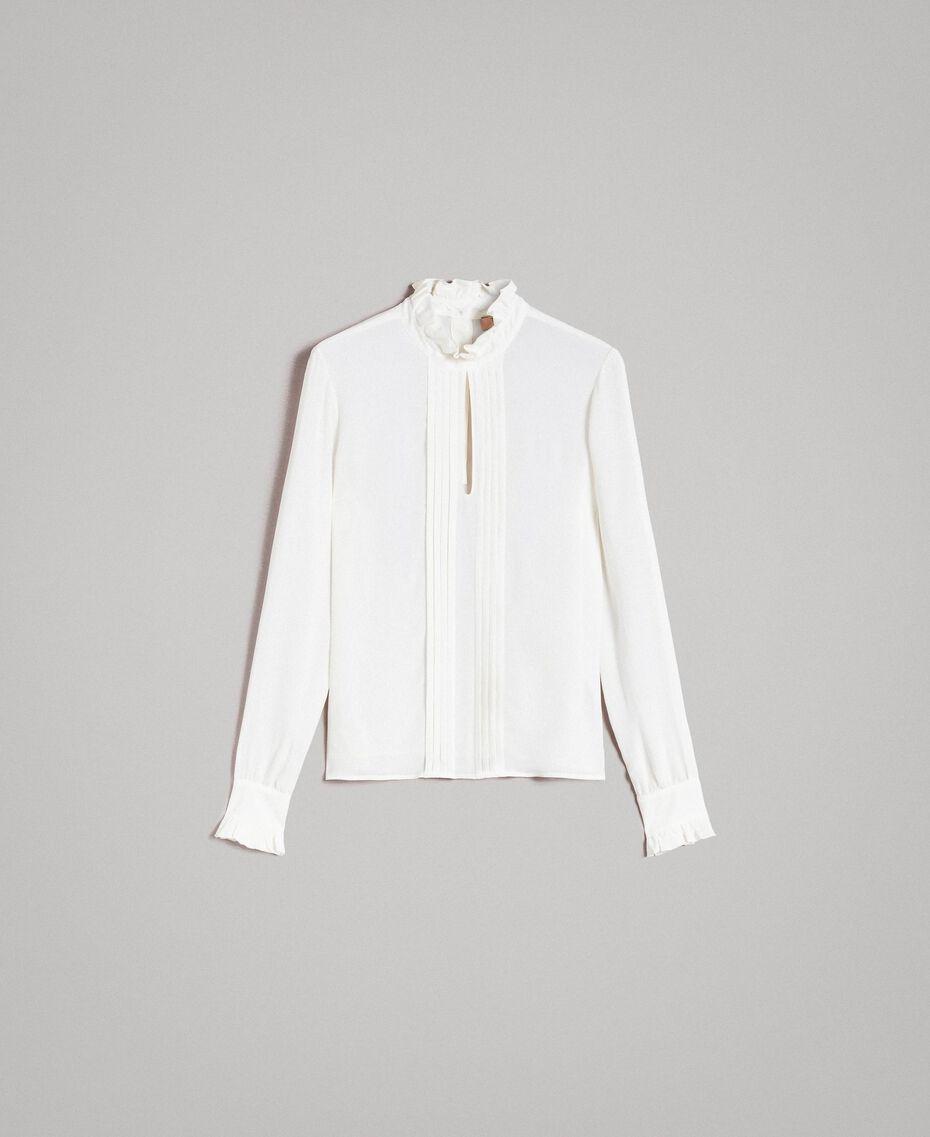 Rüschen-Bluse aus Seidenmischung Weiß Schnee Frau 191TP2135-0S