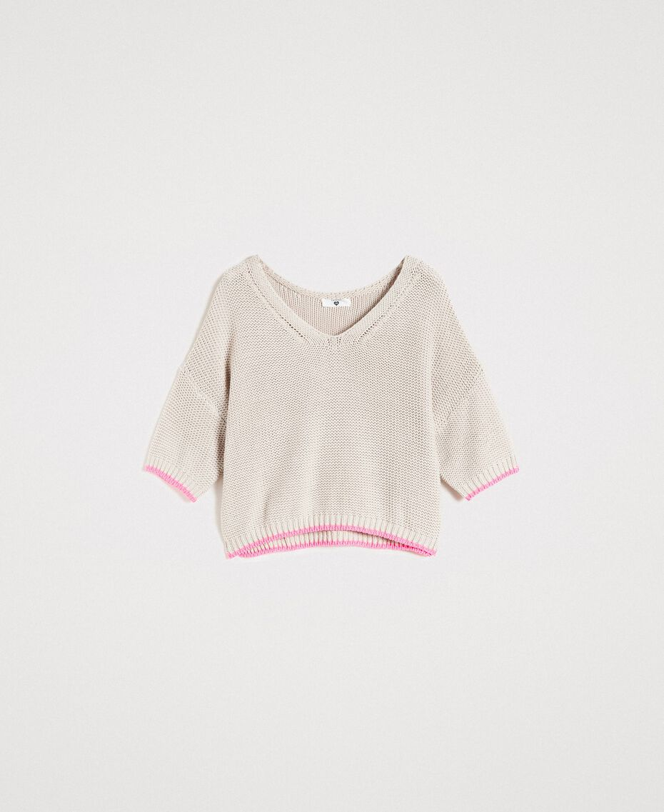 """V-neck jumper with contrast trims """"Milkway"""" Beige Woman 191LL37NN-0S"""
