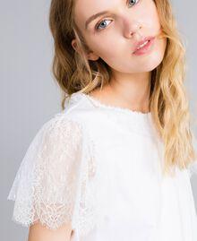 T-Shirt aus Baumwolle mit Spitze Weiß Frau TA8281-04