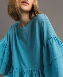 Wide sleeve blouse with flounce Daylight Blue Woman 191LM2HCC-04