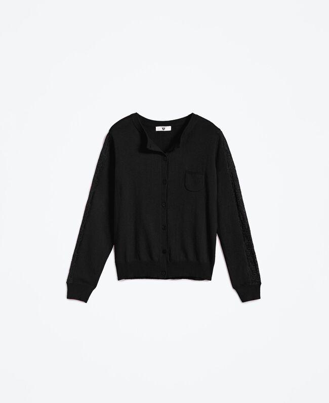 Viscose blend cardigan with lace Black Woman LA8QBB-01
