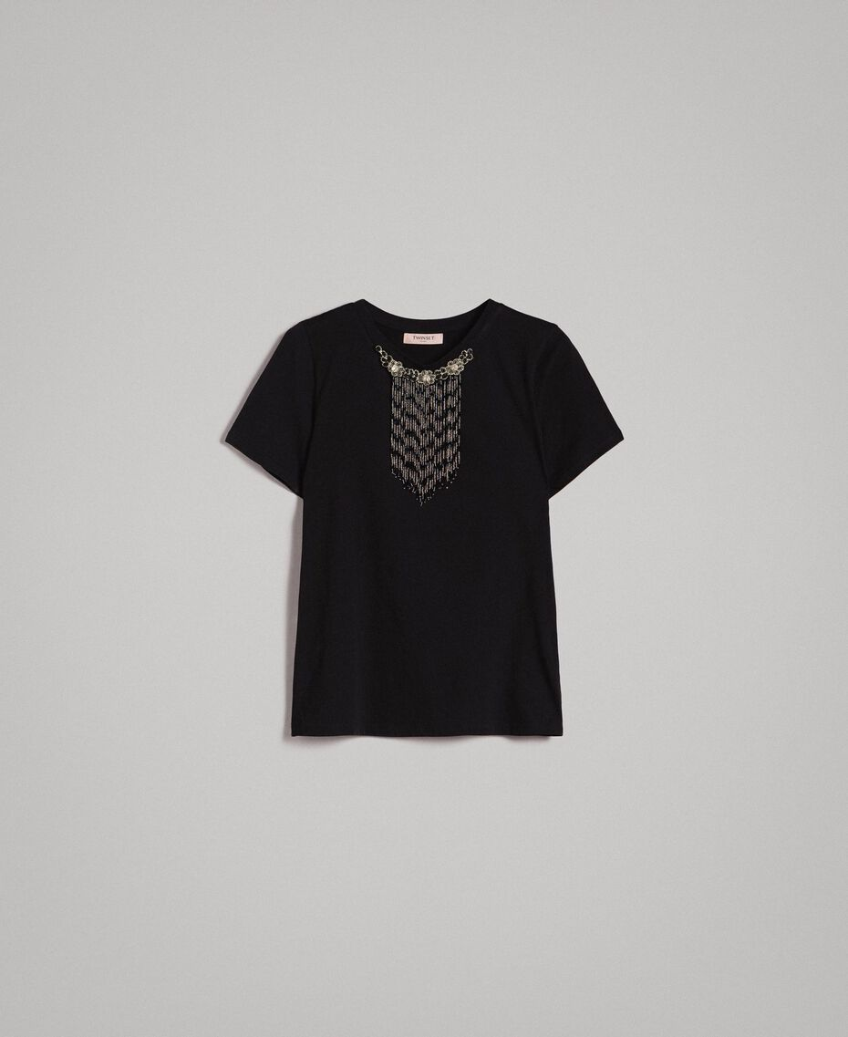 Embroidery and fringe T-shirt Black Woman 191TT2204-0S