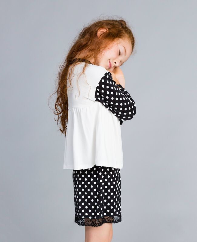 Polka dot jersey pyjamas Bicolour Black / Black Polka Dot Print Child GA828D-03