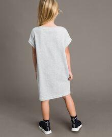 Minikleid aus Stretch-Fleece mit Strass Hellgrau-Mélange Kind 191GJ2463-03