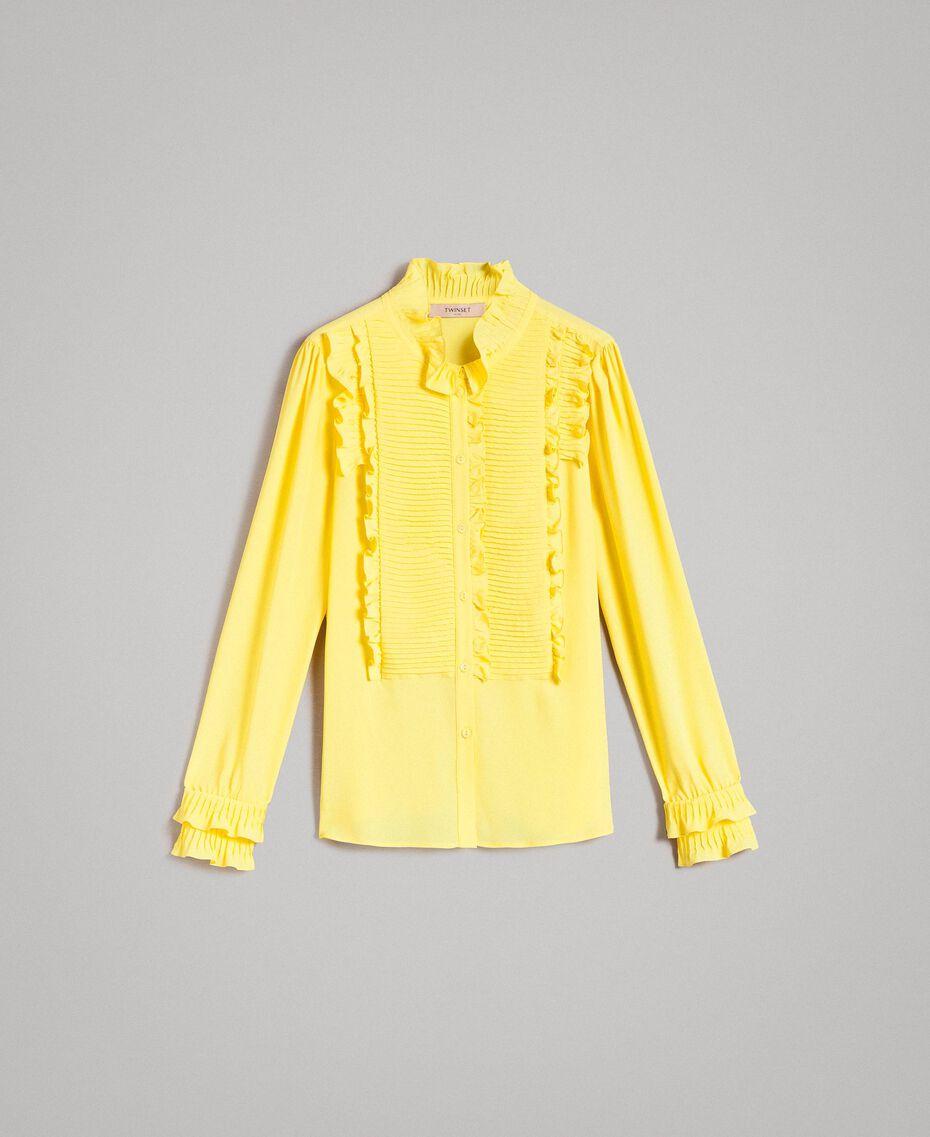 Rüschen-Hemd aus Seide-Mix Gelb Frau 191TP2134-0S