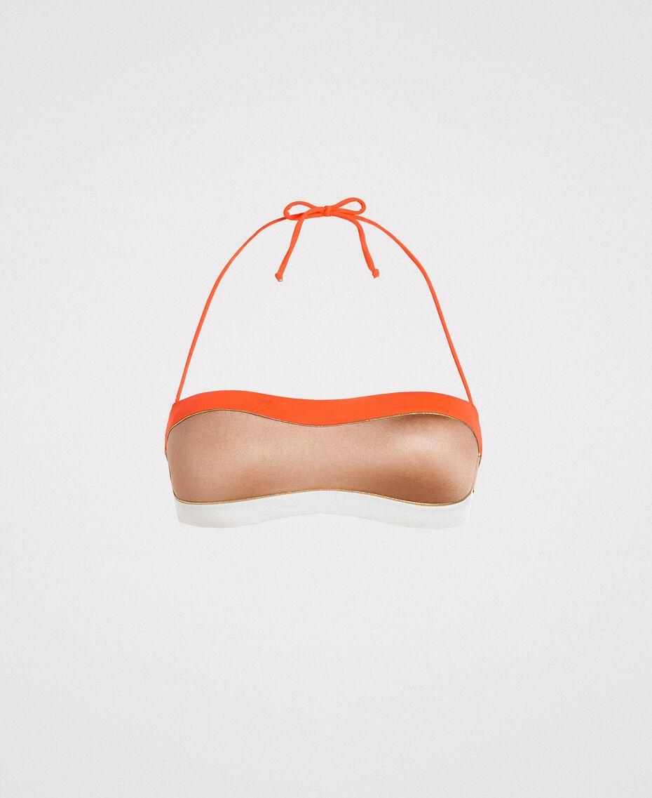 """Haut de bikini bandeau color block Multocolore """"Jus d'Orange"""" / Beige """"Voie Lactée"""" / Marron """"Grès de Pétra"""" Femme 191LMMH11-01"""