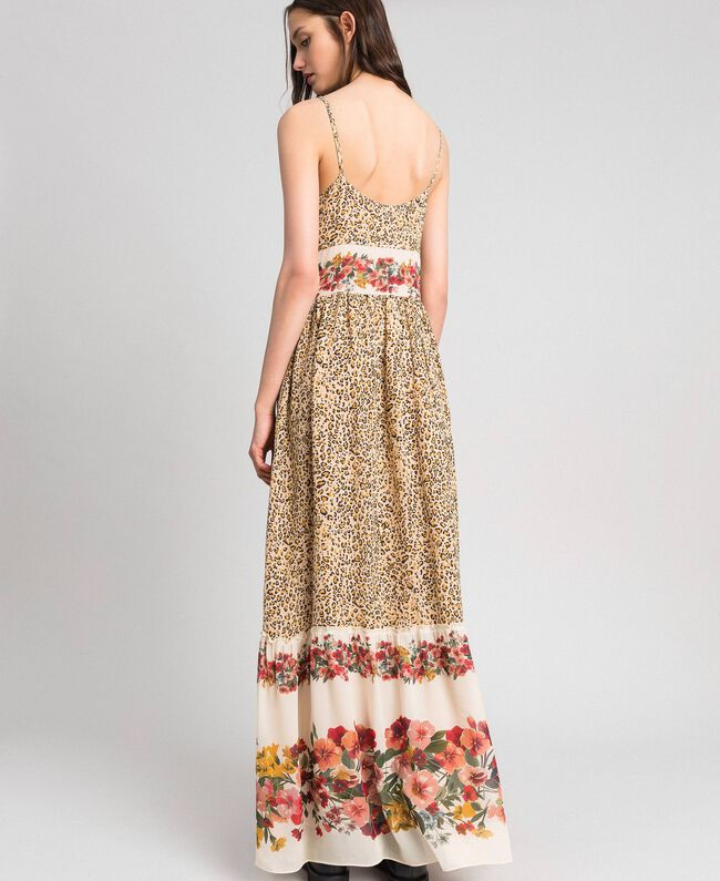 Long dress with animal and floral print Leopard Print Woman 192TP2743-03