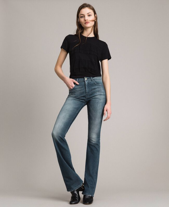 Fadeout bell bottom jeans Denim Blue Woman 191MP2475-01