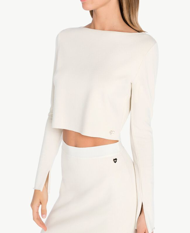 Pull court Blanc Cachemire Femelle PA7361-04