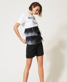 Rhinestone and feather t-shirt Optical White / Black Woman 211MT2600-02