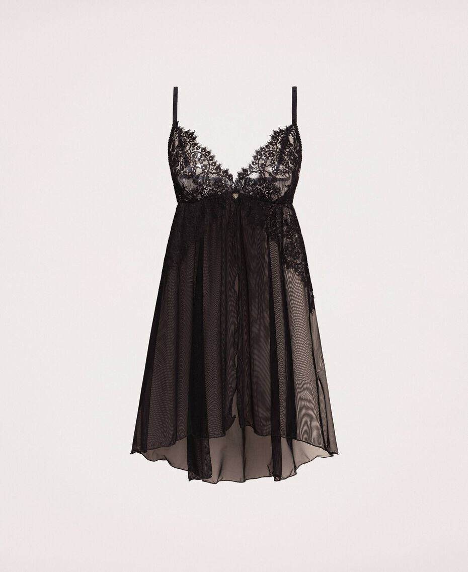 Tulle and lace babydoll slip Black Woman 201LL62ZZ-0S