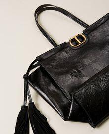 Shopper aus Leder mit Fransen Schwarz Frau 212TB7110-03
