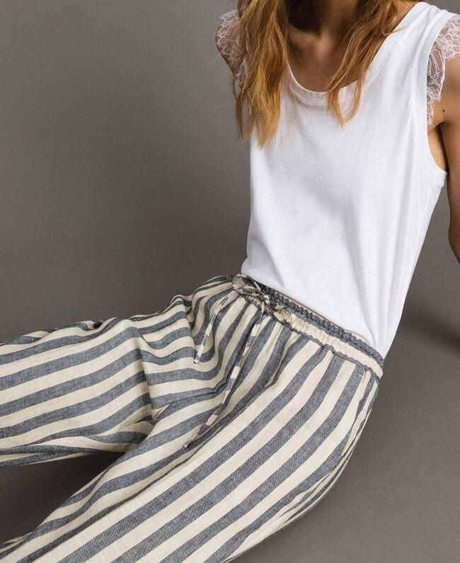 "Two-tone striped linen trousers Two-tone Black / ""Marzipan"" Beige Woman 191TT2314-03"