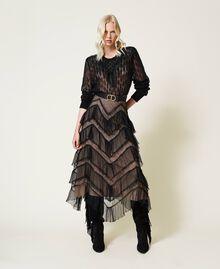 Long tulle skirt with pleated flounces Dark Raspberry Woman 212TP2204-01