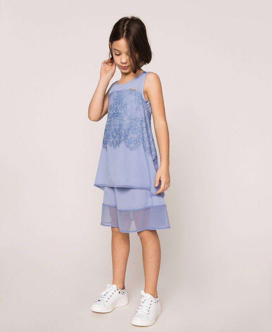 """Kleid aus Crêpe de Chine und Spitze Dunkles """"Ice""""-Blau Kind 201GJ2Q30-01"""