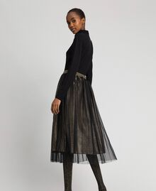 Metal effect midi skirt with tulle Black Gold Woman 192MT2190-03