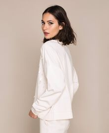 """Sweatshirt with full sequin embroidery """"Silk"""" White Woman 201ST2051-02"""