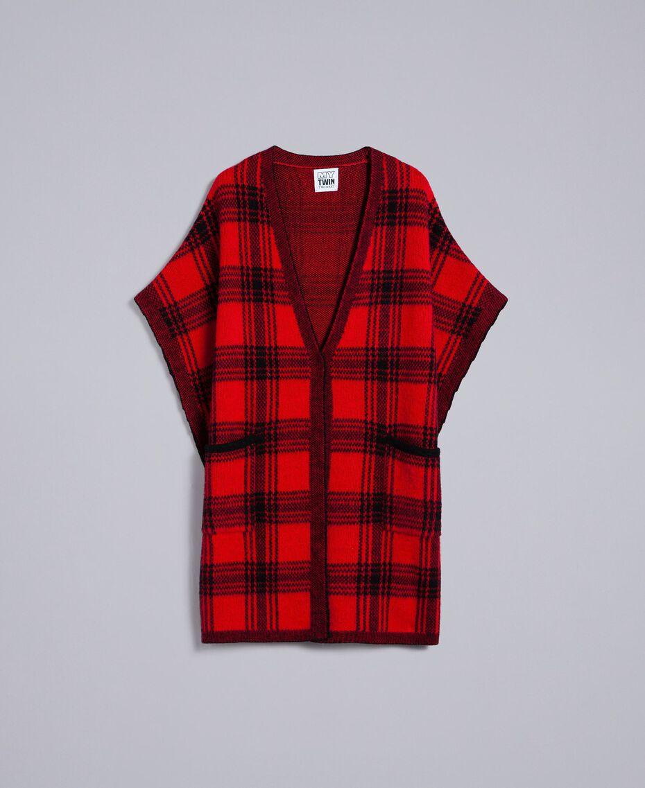 Cape jacquard à carreaux all-over Bicolore Rouge Coquelicot / Noir Femme YA83HB-0S