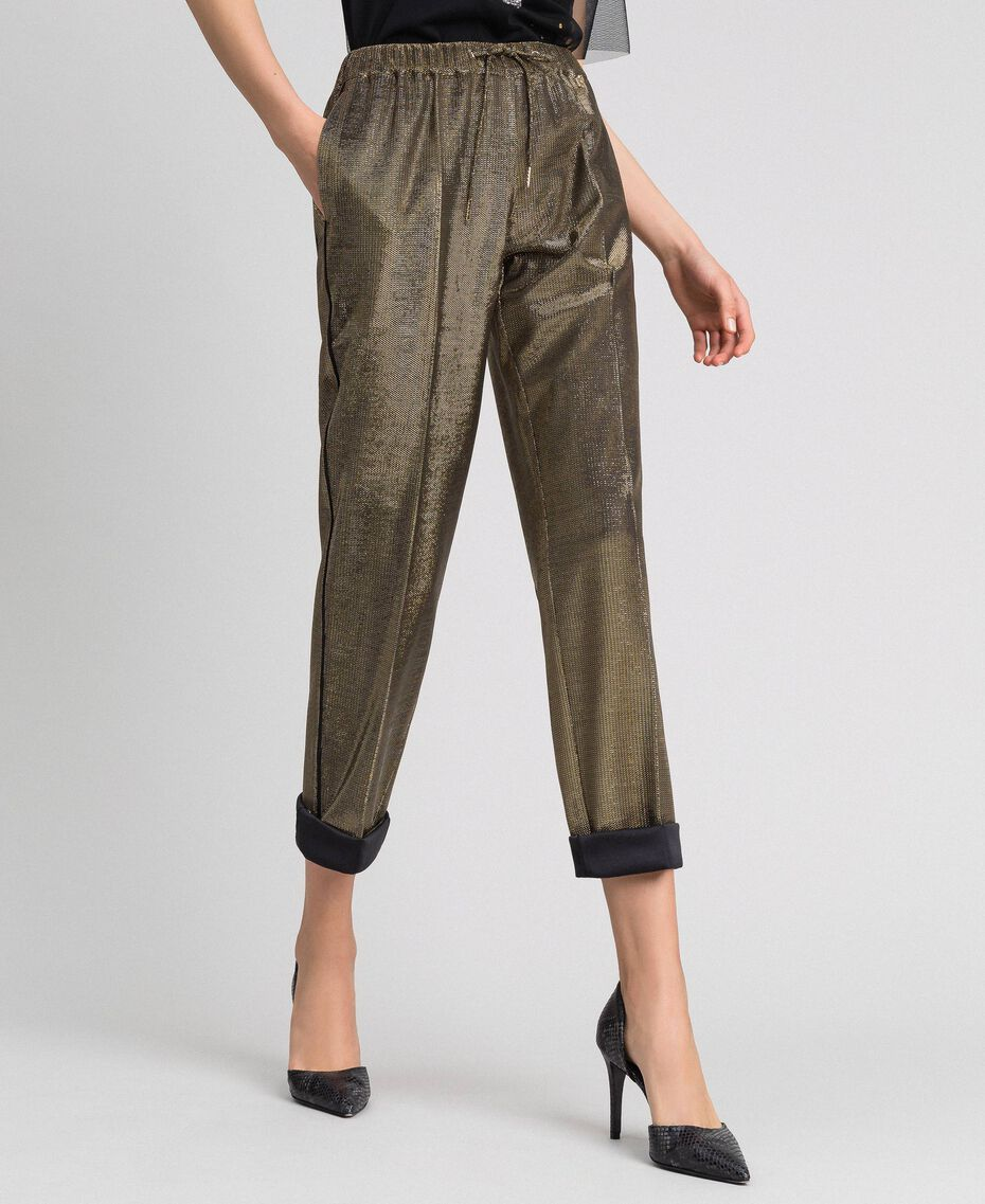 Metal effect trousers Black Gold Woman 192MT2191-05