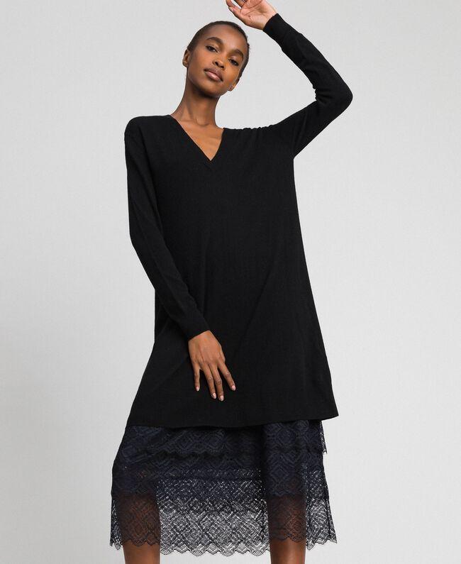 Robe en maille avec fond de robe en crêpe et dentelle Noir Femme 192TT3084-01