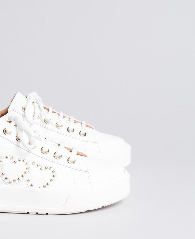Sneakers aus Leder mit Herzen Weiß Frau CA8PAQ-04