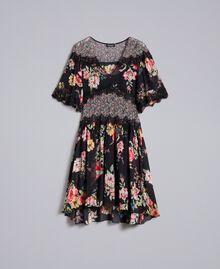 "Kurzes Kleid aus Georgette mit Blumenprint Print ""Flower Patch"" Frau PA82MD-0S"