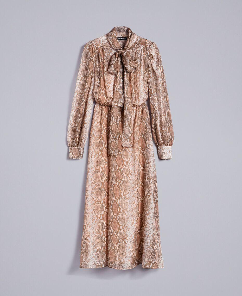 "Langes Kleid aus Seidenchiffon mit Animalierdessin Print ""Snake"" Kamelbraun Frau PA827B-0S"
